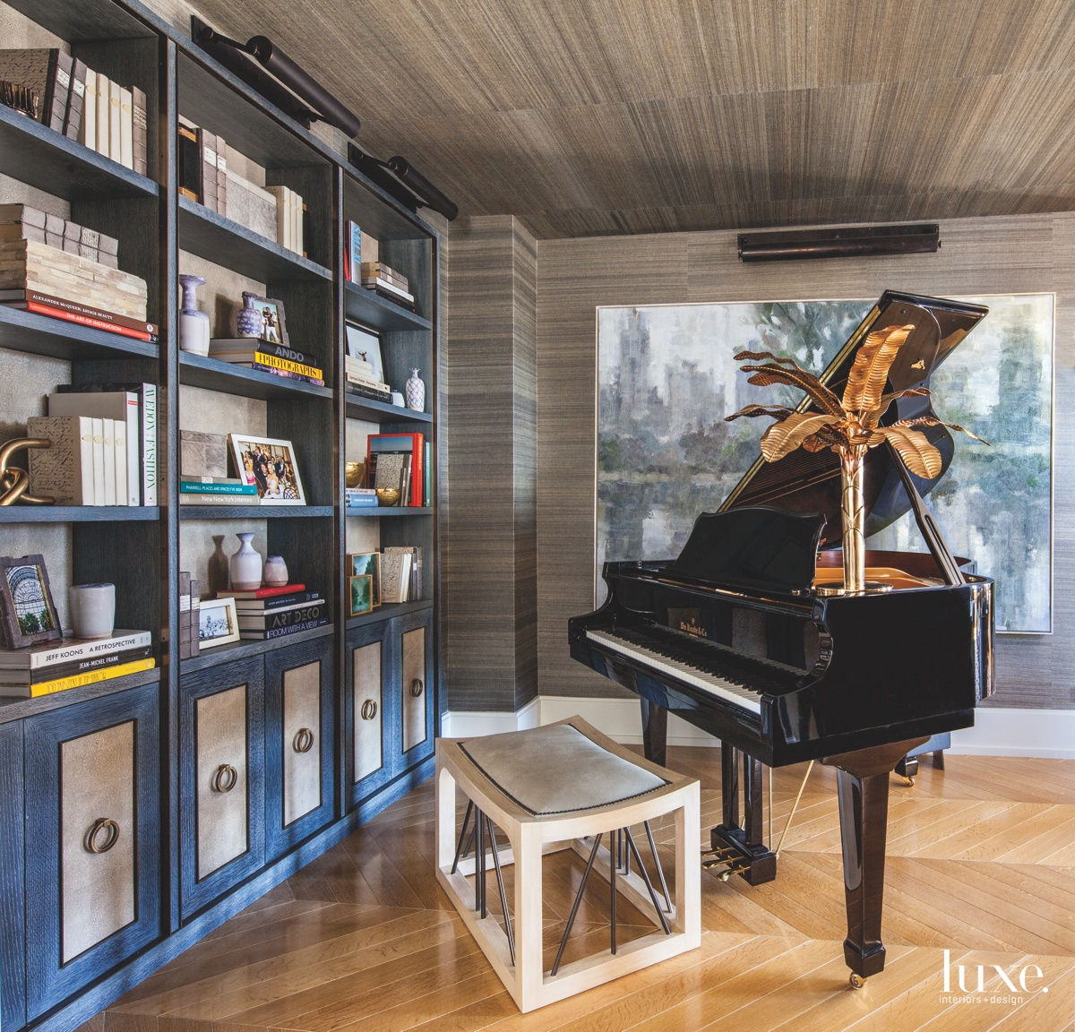 eclectic living area piano limed-oak...