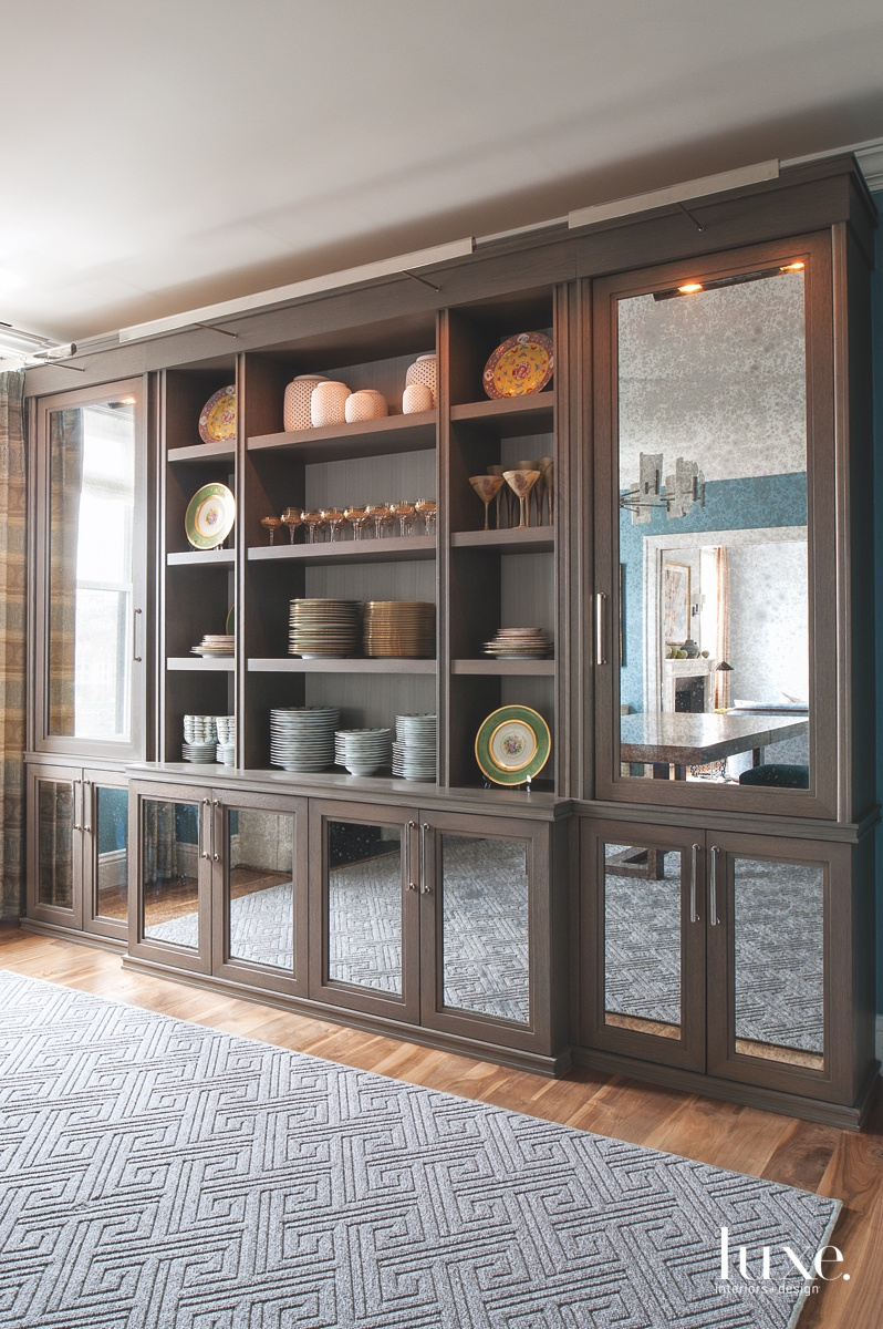 transitional dining room oak bookcase...