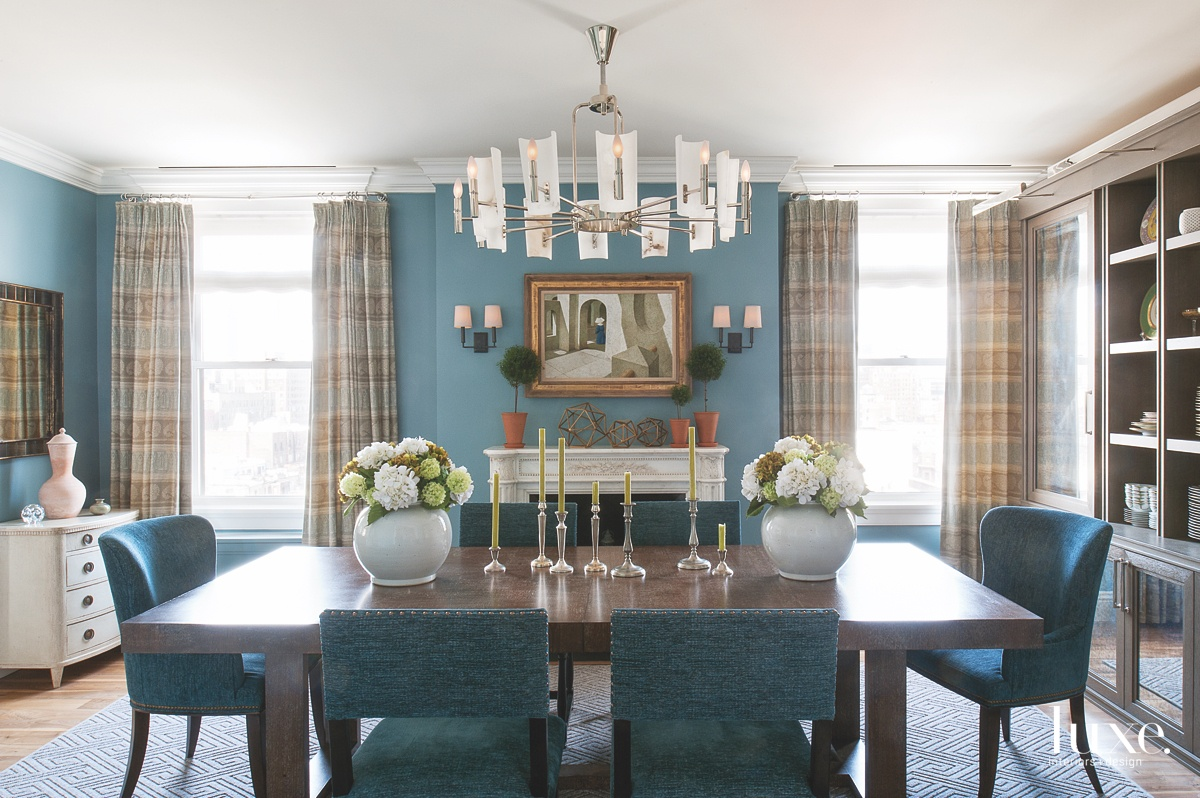 transitional blue dining room brown...