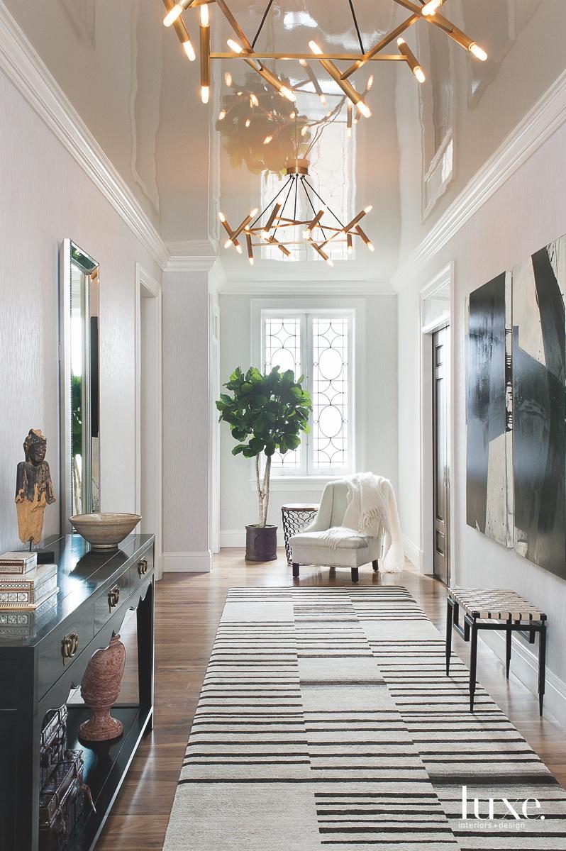 transitional foyer custom striped rug