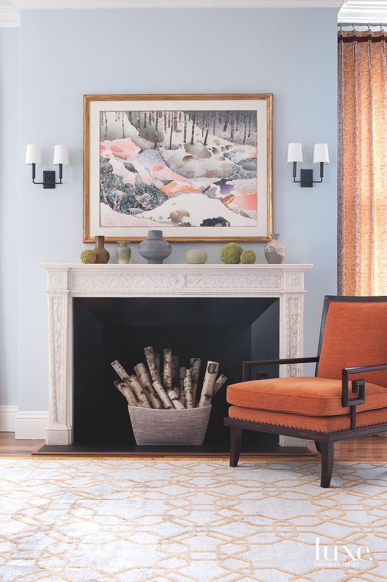 transitional fireplace living room orange...
