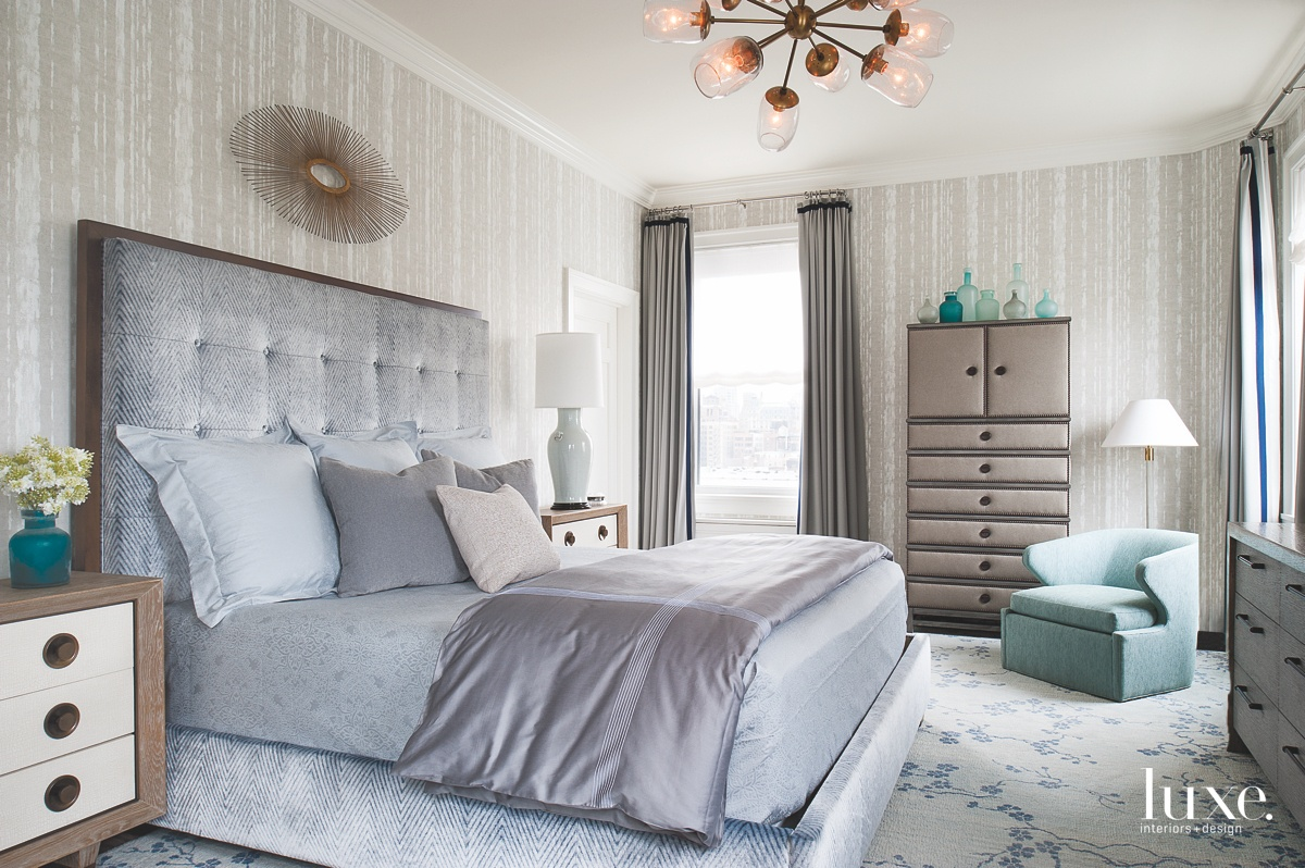 transitional bedroom neutral blue tinted...