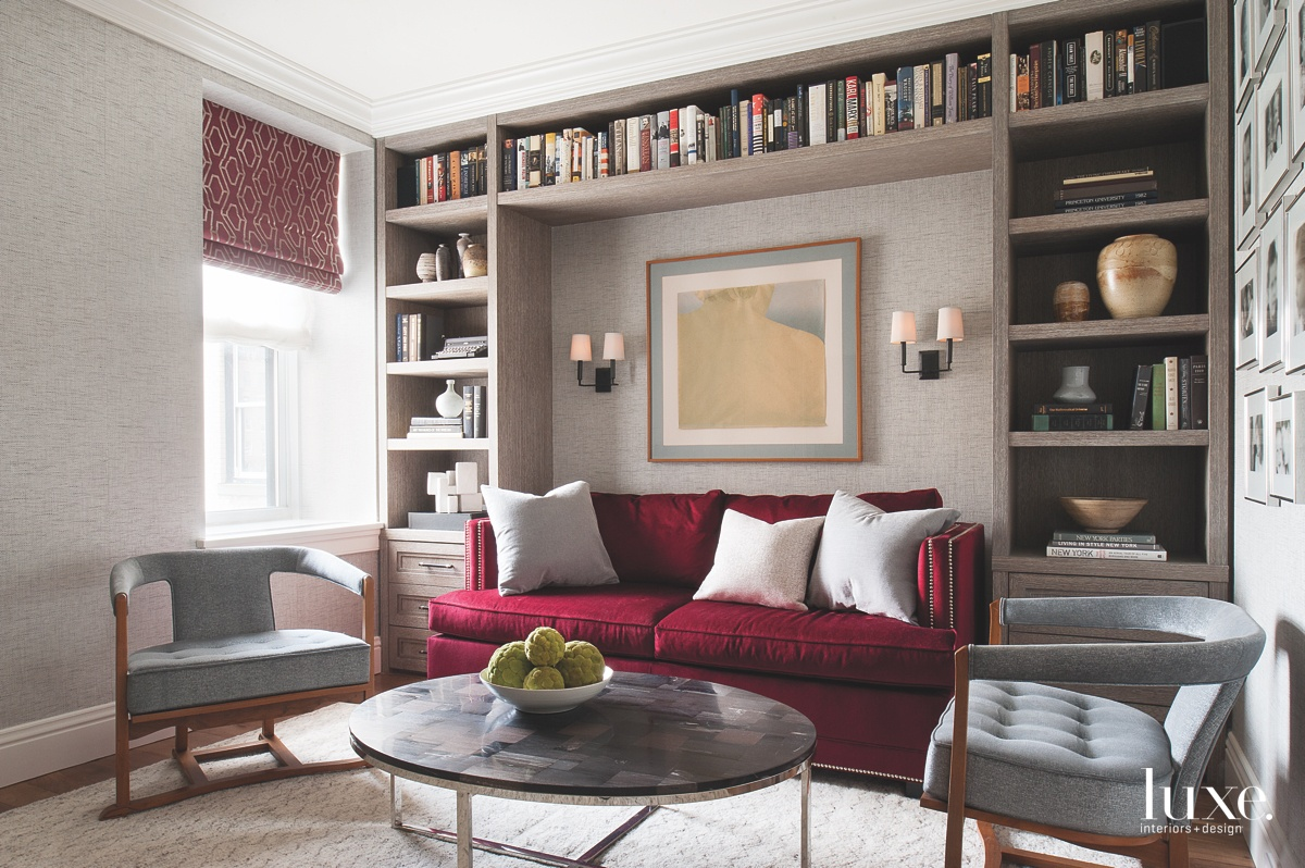 transitional study red sofa gray...
