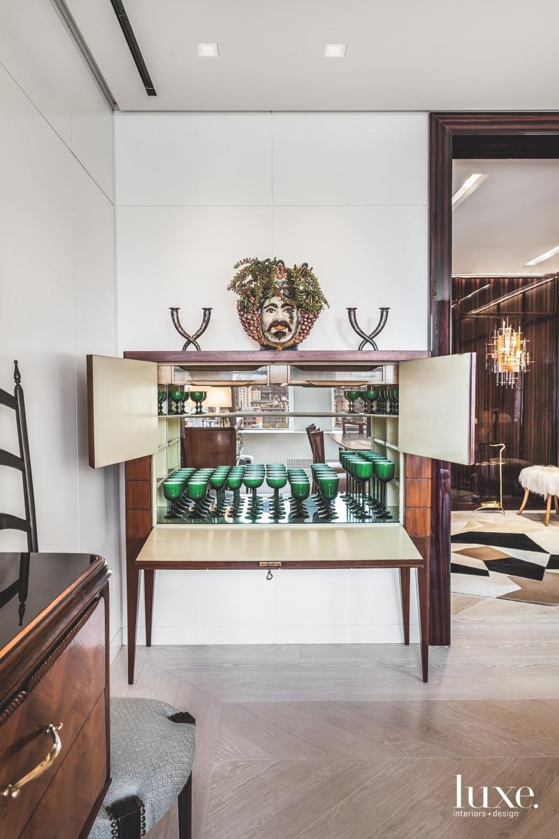 modern dining room inlaid-walnut chest