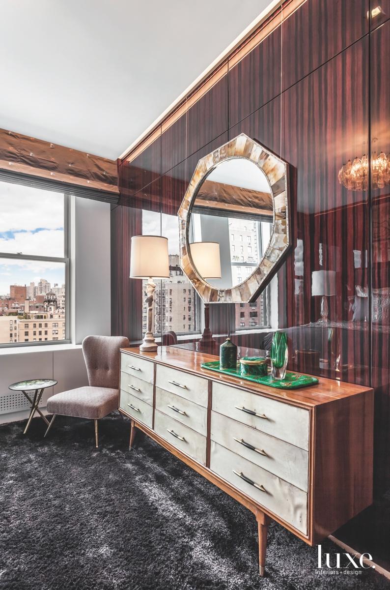 modern bedroom gray rug brown...