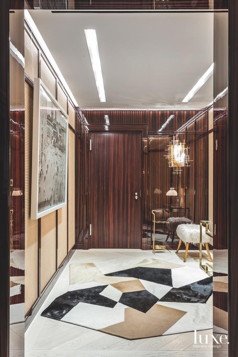 modern foyer ebony geometric rug