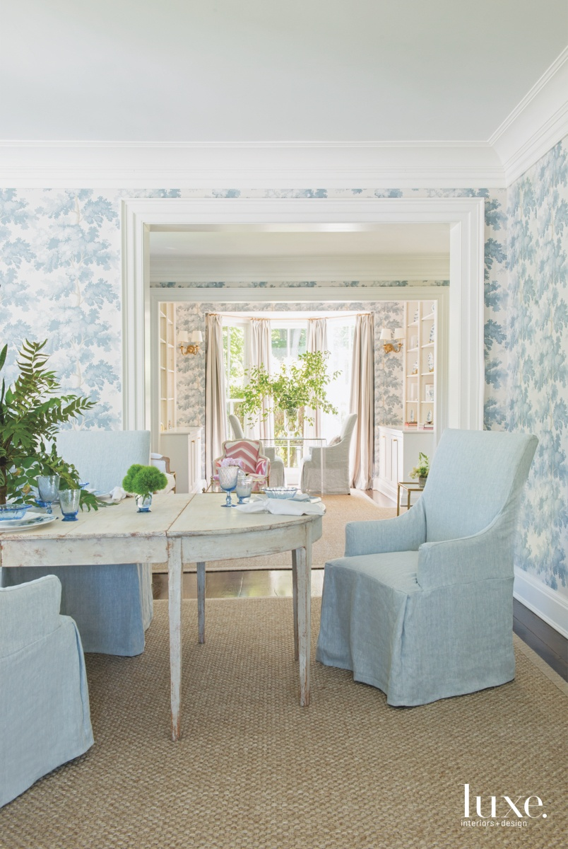 traditional dining room pale blue...