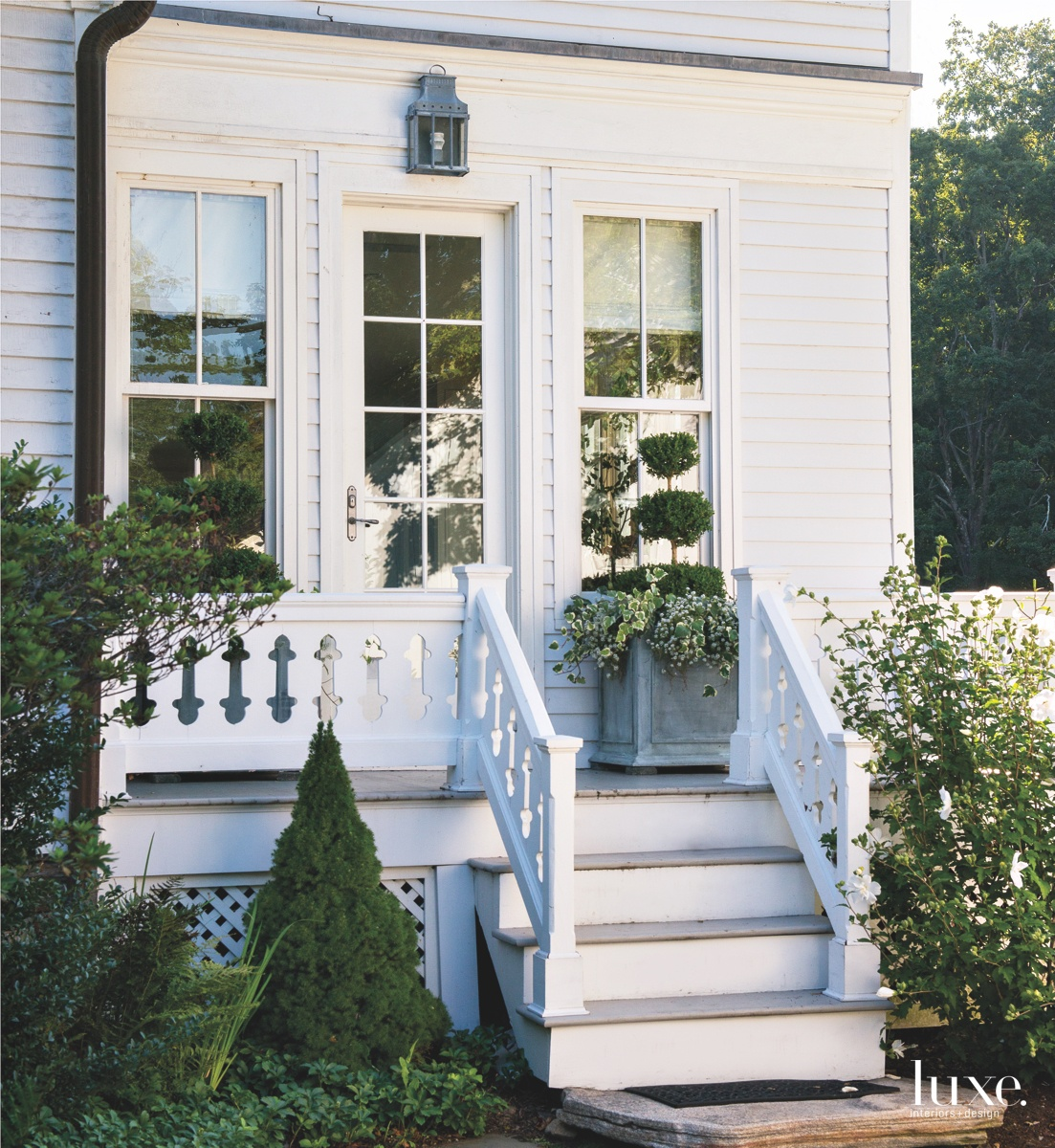 traditional exterior white stairs back...