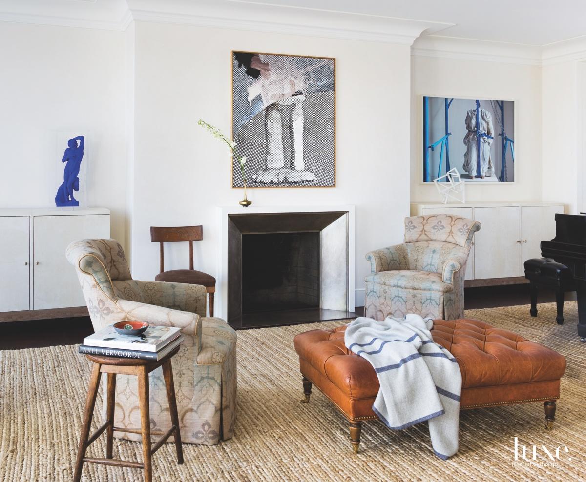 contemporary living room fireplace blue...