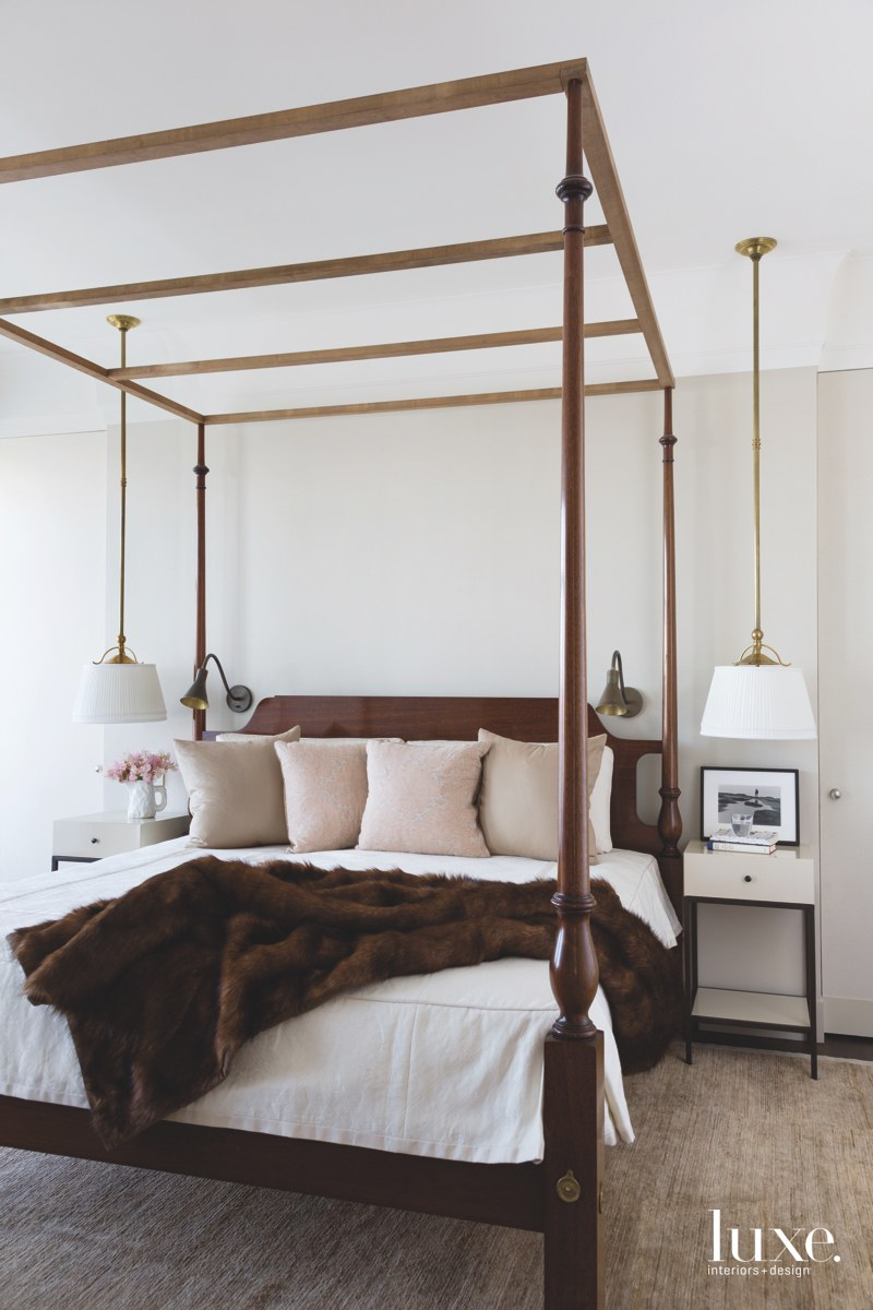contemporary neutral bedroom canopy bed...