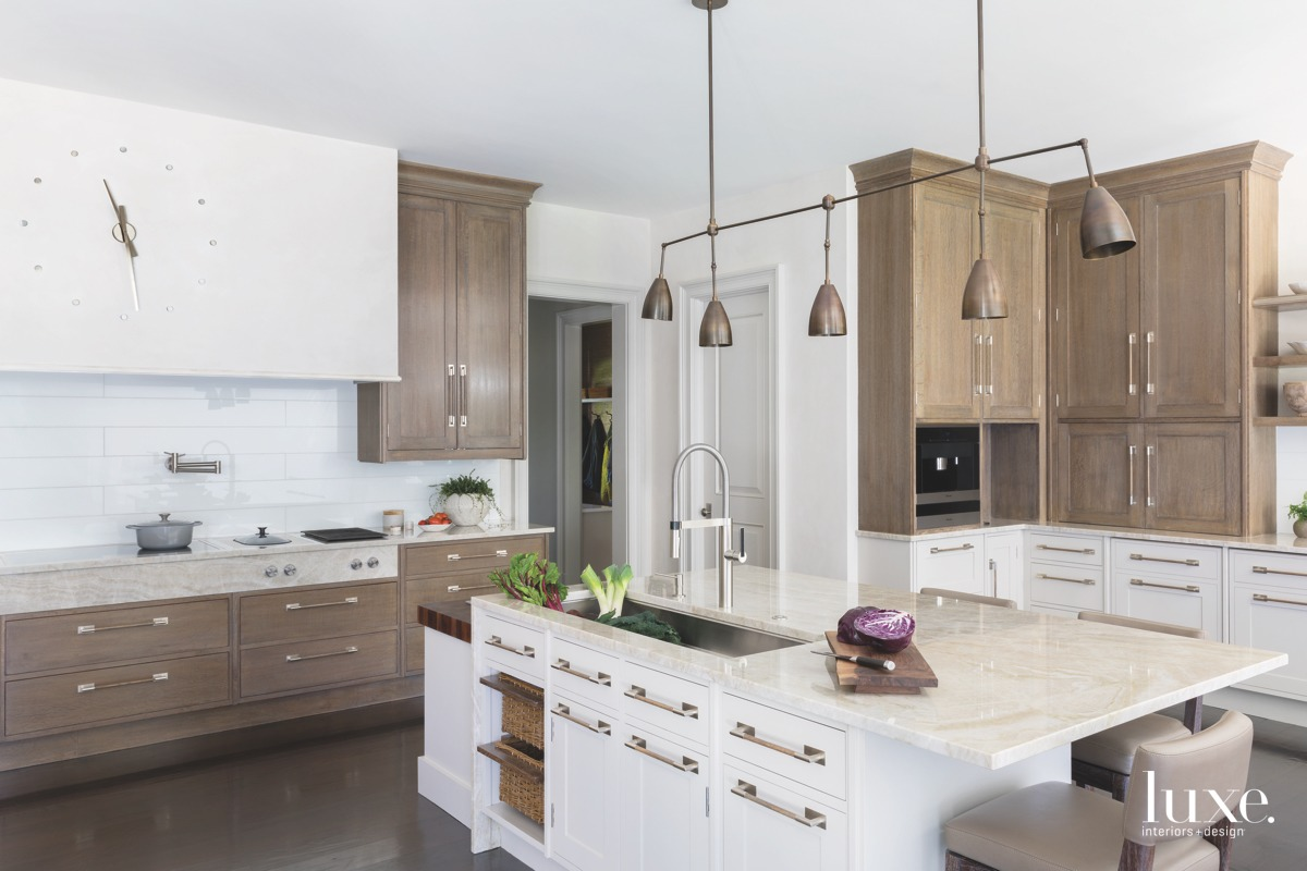 contemporary neutral kitchen white island