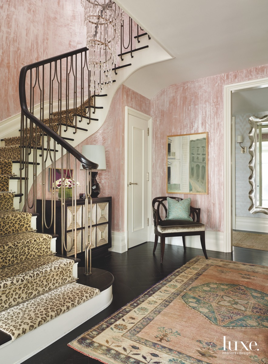 traditional cheetah print staircase pink...