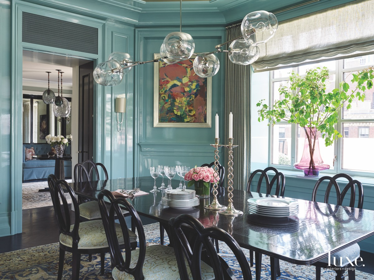 traditional blue dining room