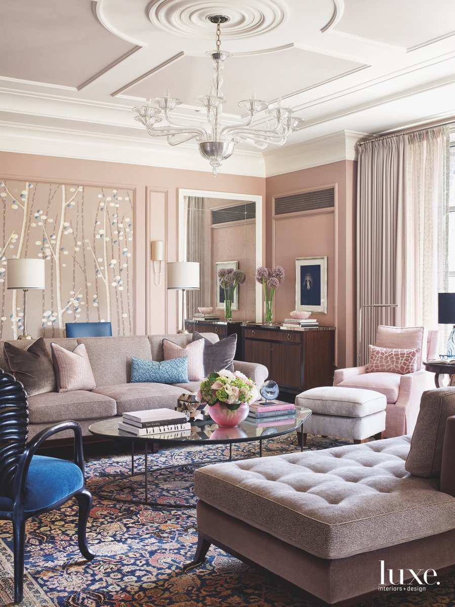 traditional pink living room