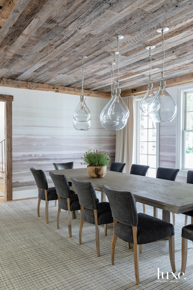 rustic dining room gray palette...
