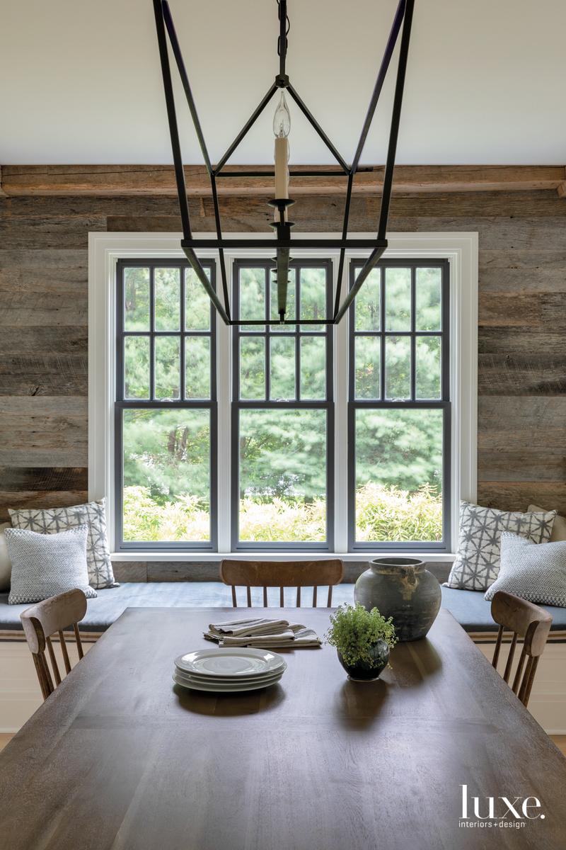 rustic dining room wood walls...
