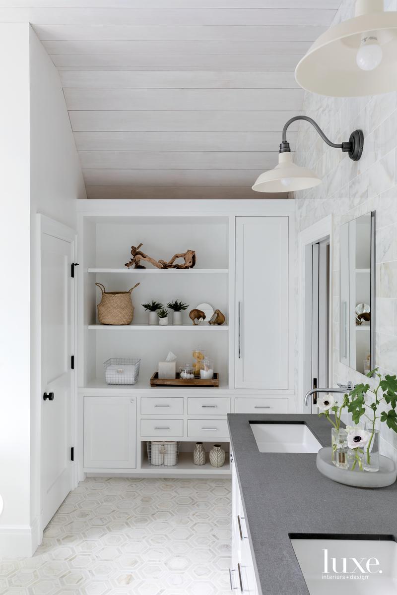 rustic white bathroom gray countertop