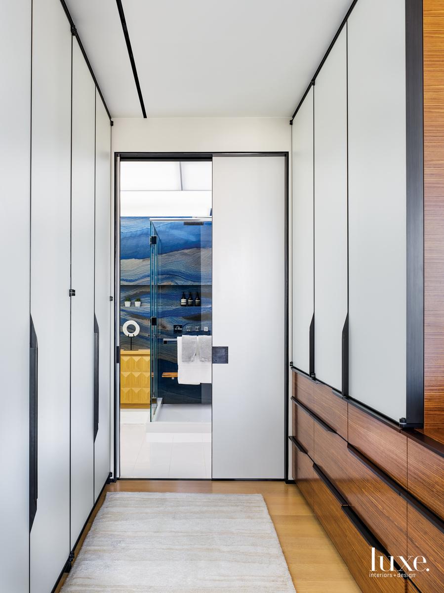 modern storage hallway blue quartz...