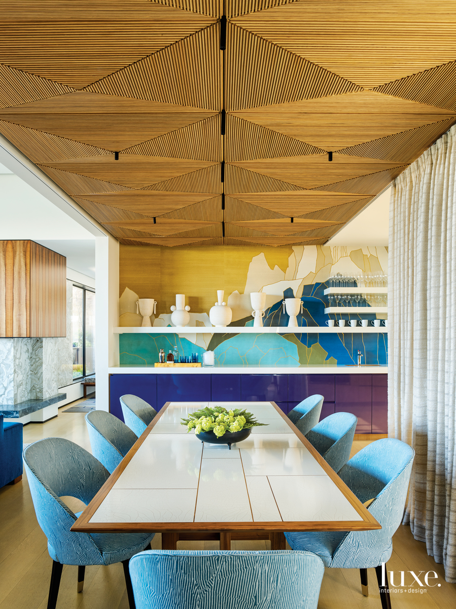 modern multi-color dining room blue...