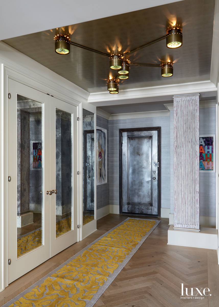 eclectic entryway yellow runner steel