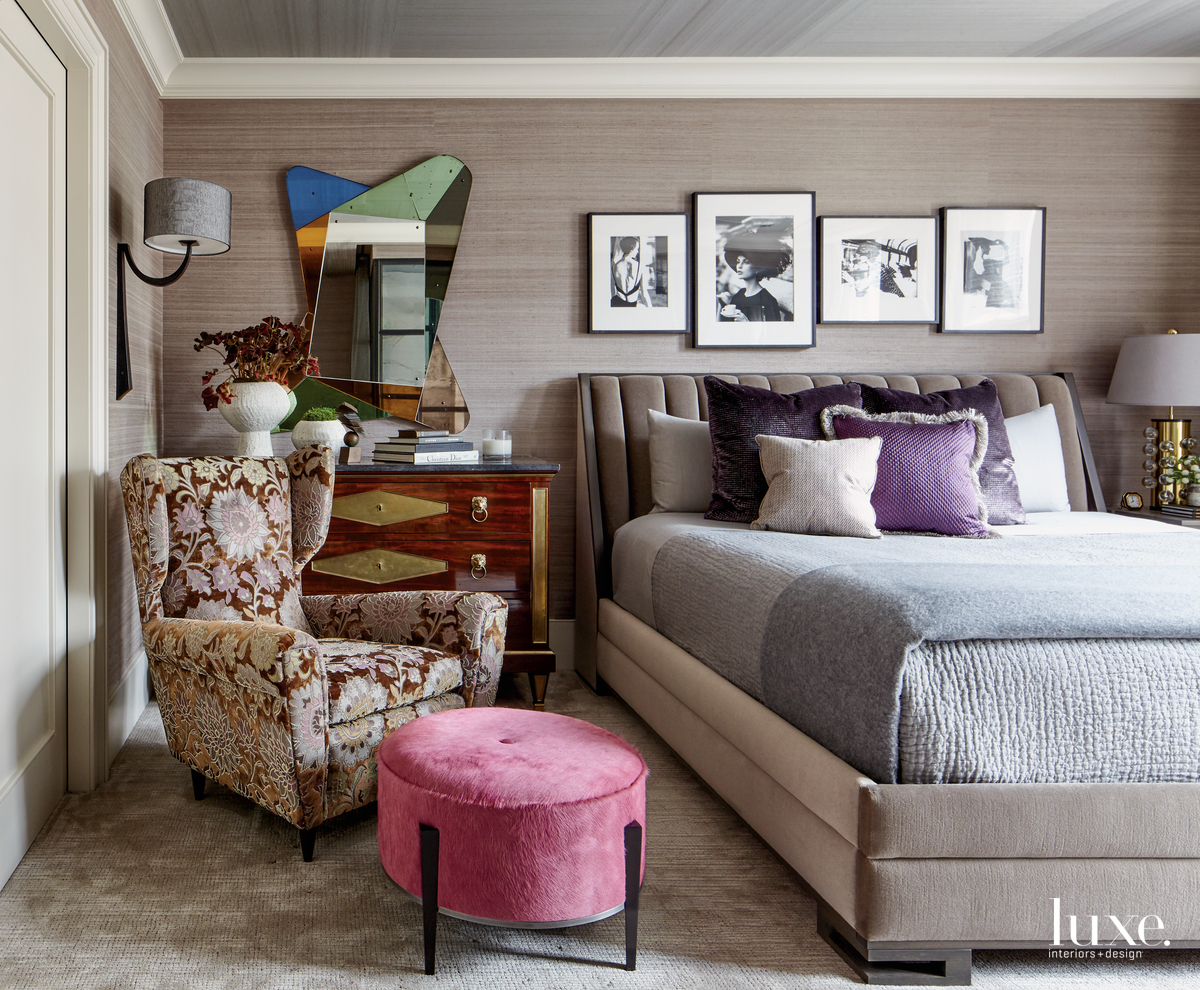 eclectic bedroom pink pouf gray...