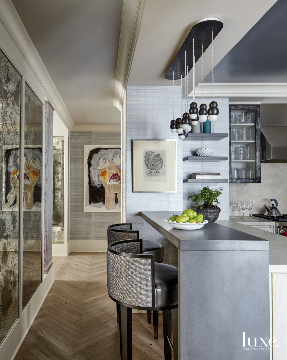 eclectic kitchen peninsula mirrored panels