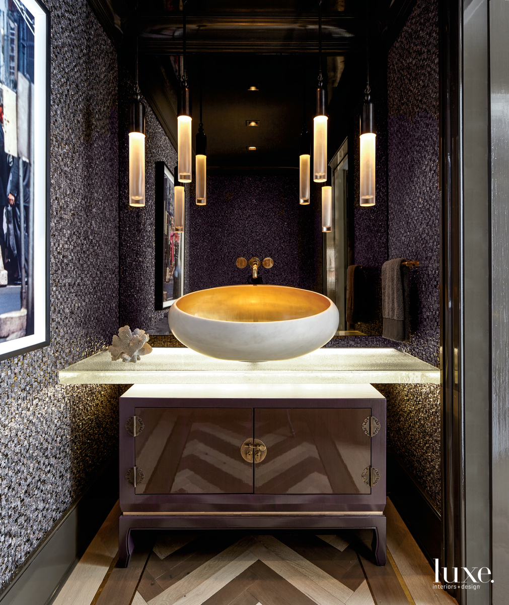 eclectic bathroom lave stone tile...