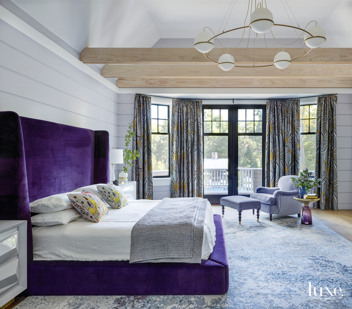eclectic bedroom purple hues