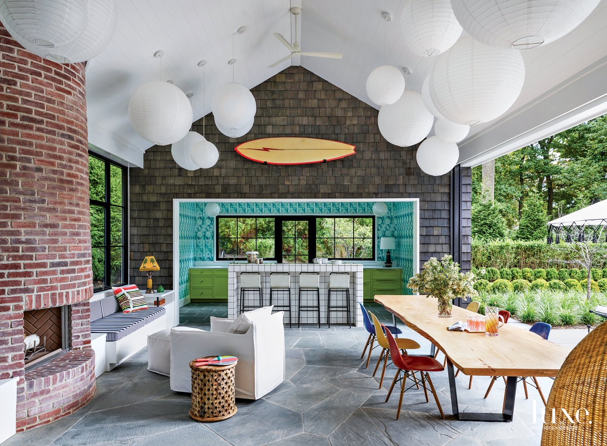 eclectic pool house kitchen and...