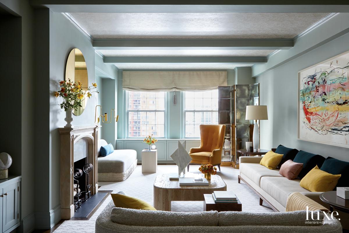 eclectic living room neutral palette...