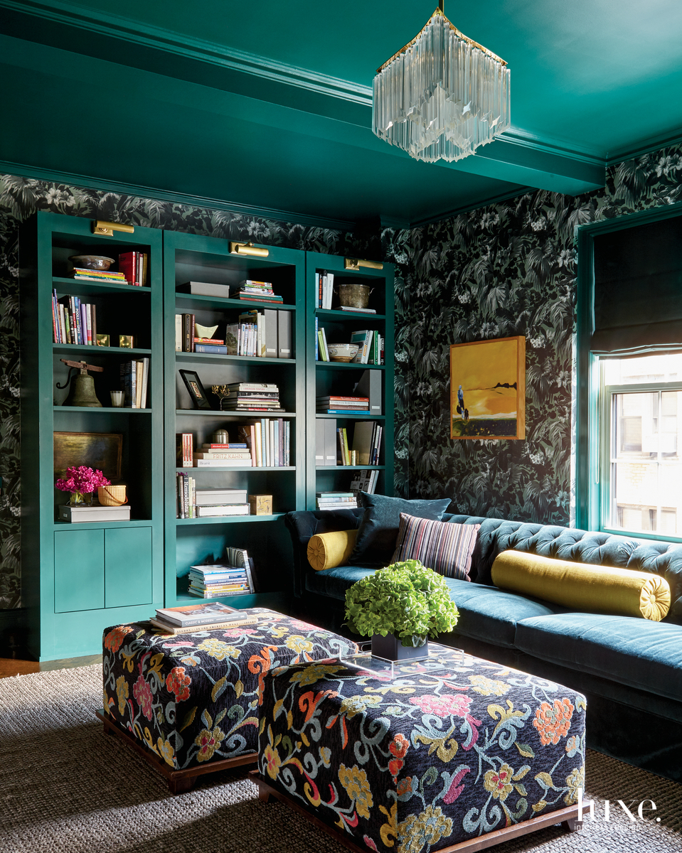 eclectic library green walls and...