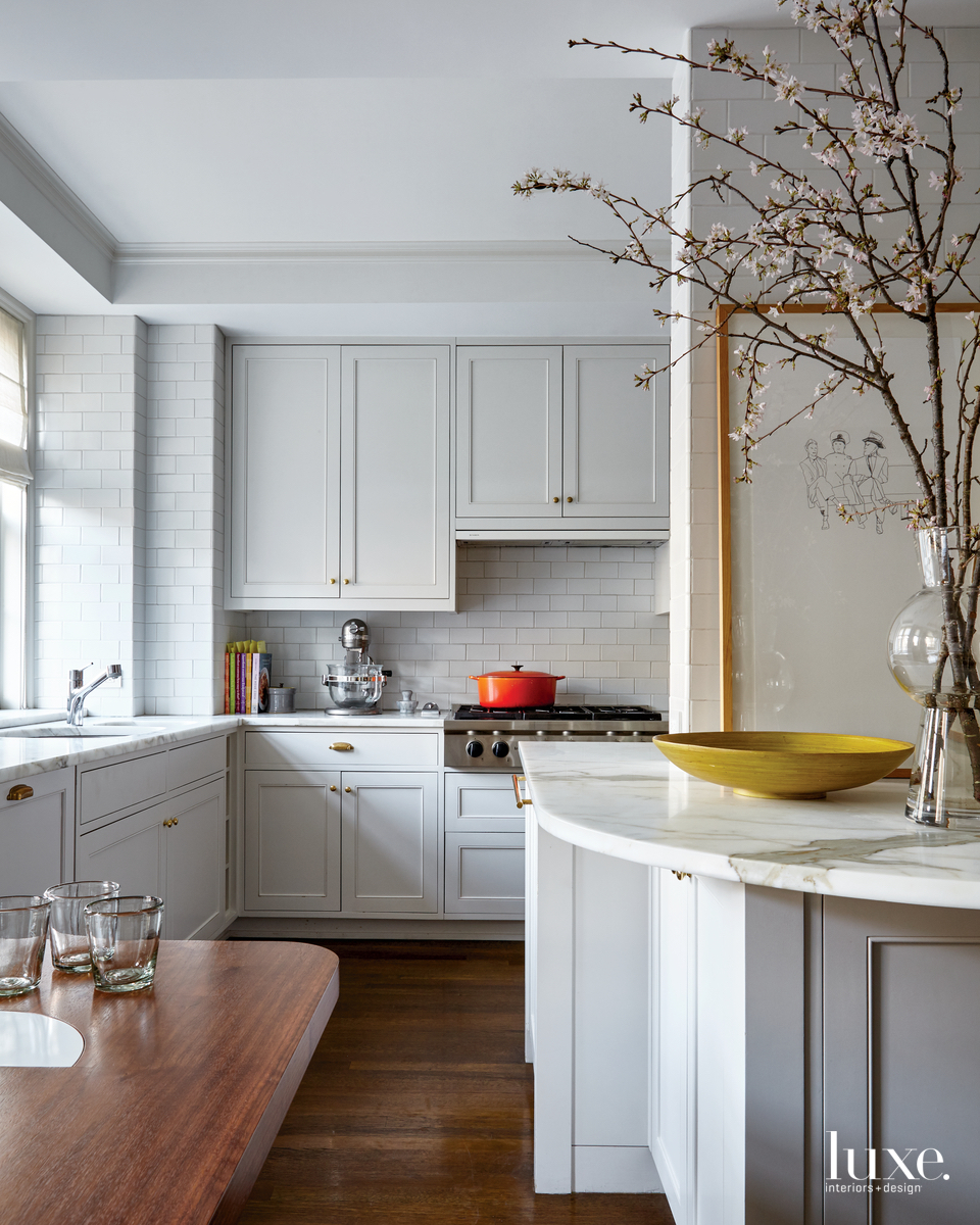 eclectic white kitchen subway tile...
