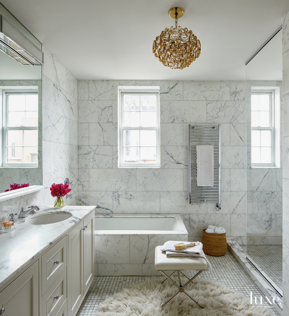 eclectic white bathroom