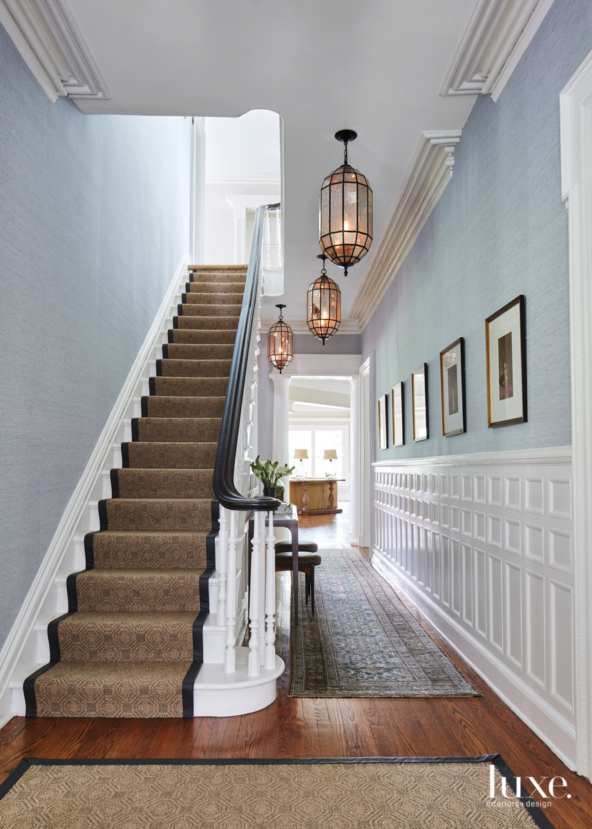 transitional entryway narrow staircase runner