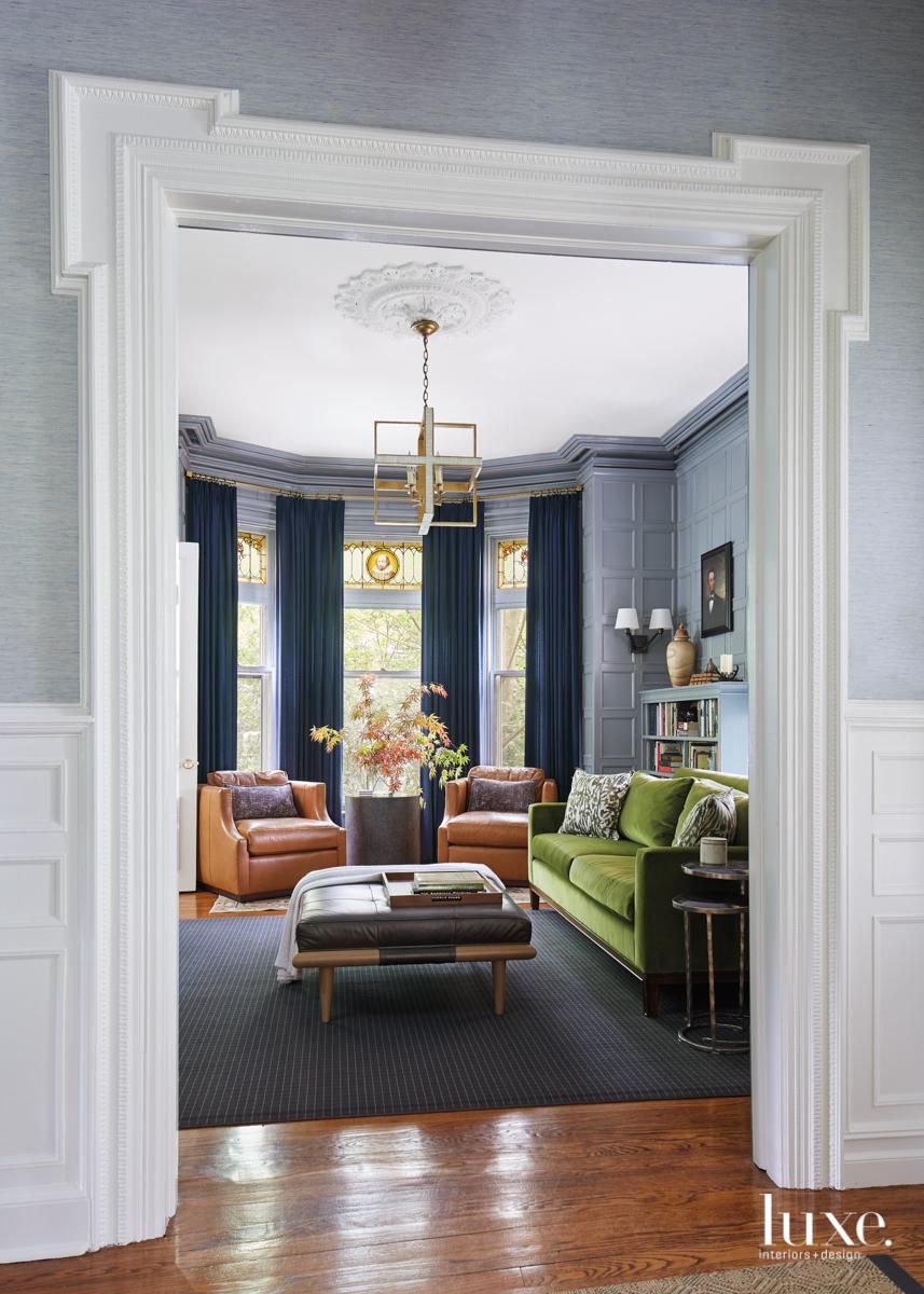 transitional study green velvet sofa