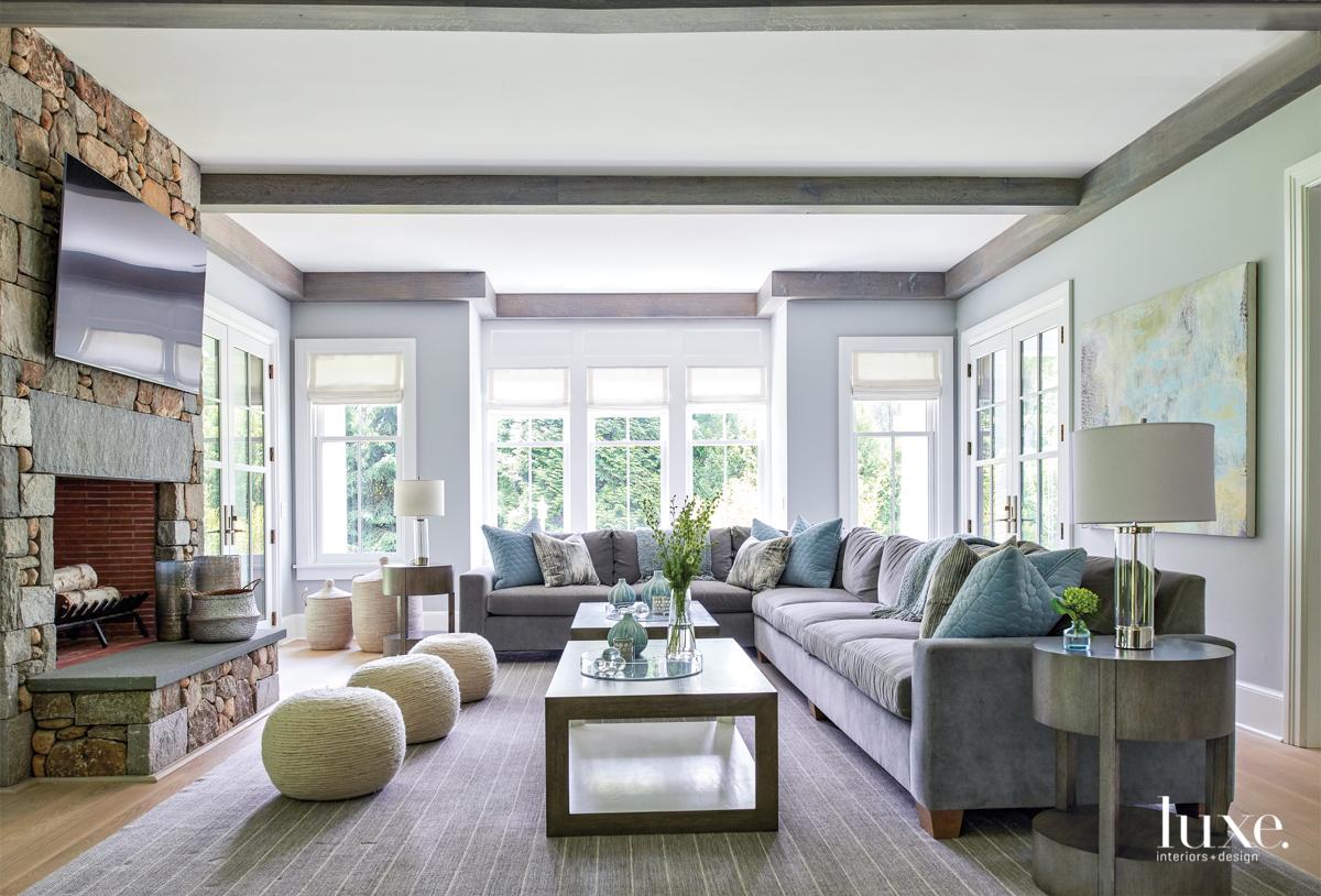transitional living room gray palette...