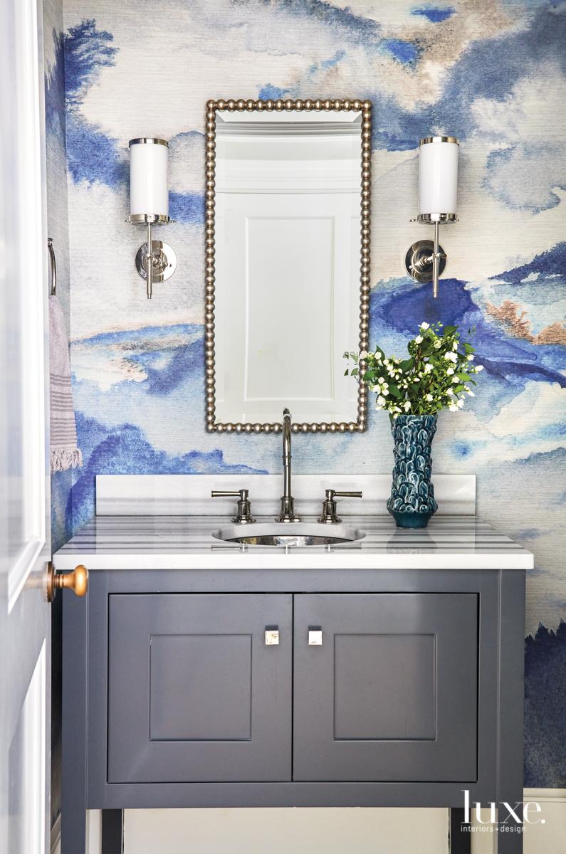 transitional bathroom blue