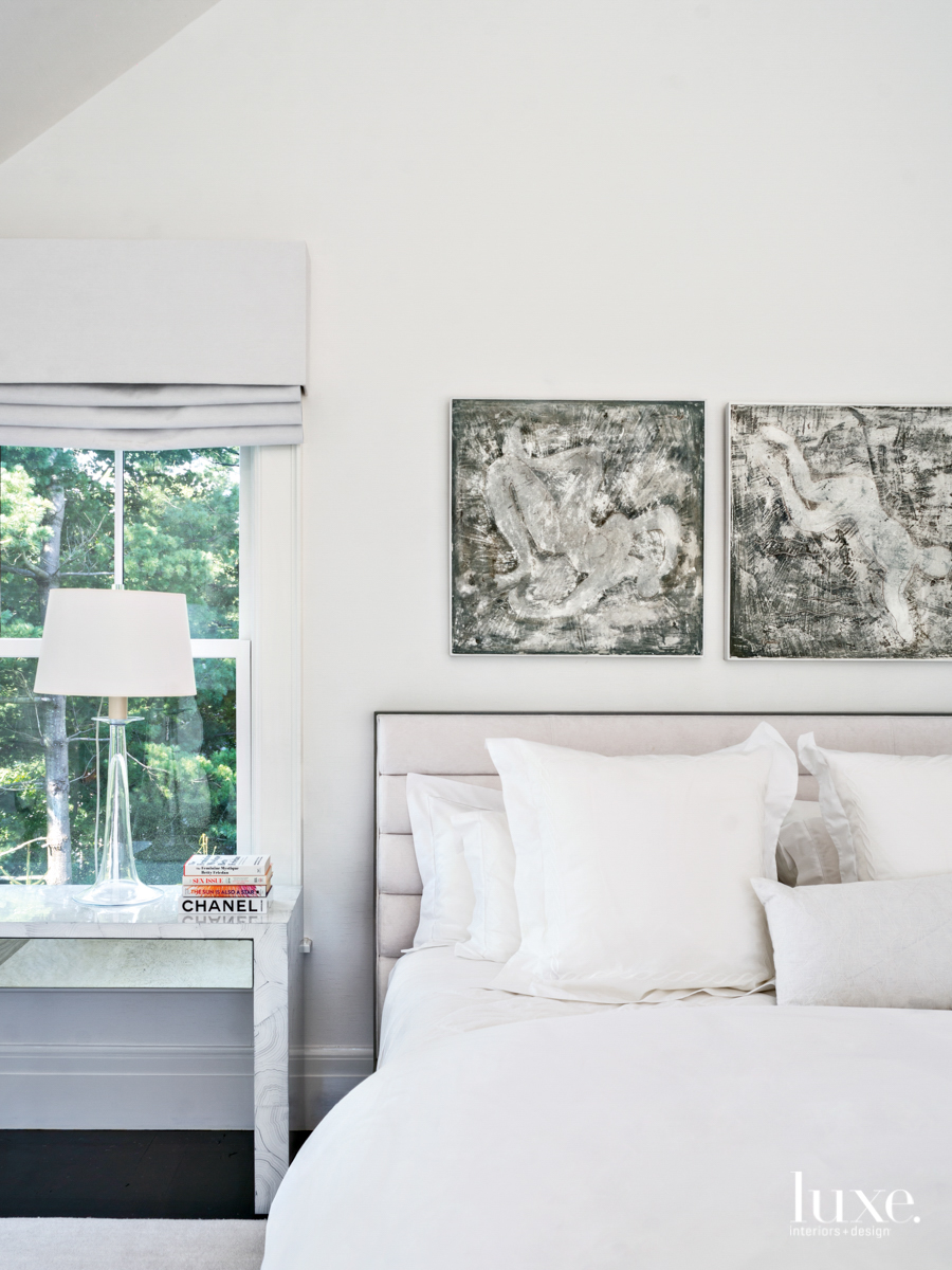 contemporary gray white bedroom