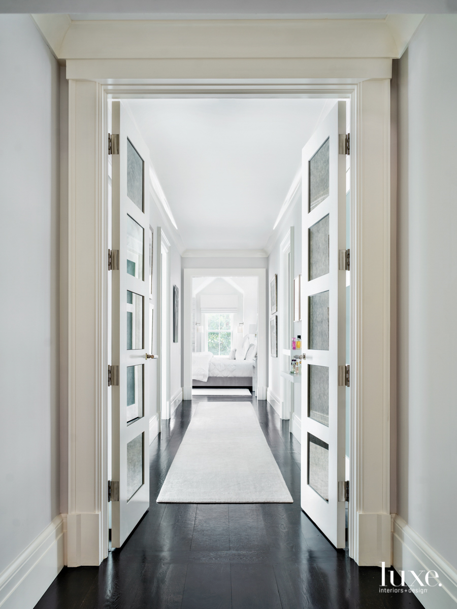 contemporary white gray hallway
