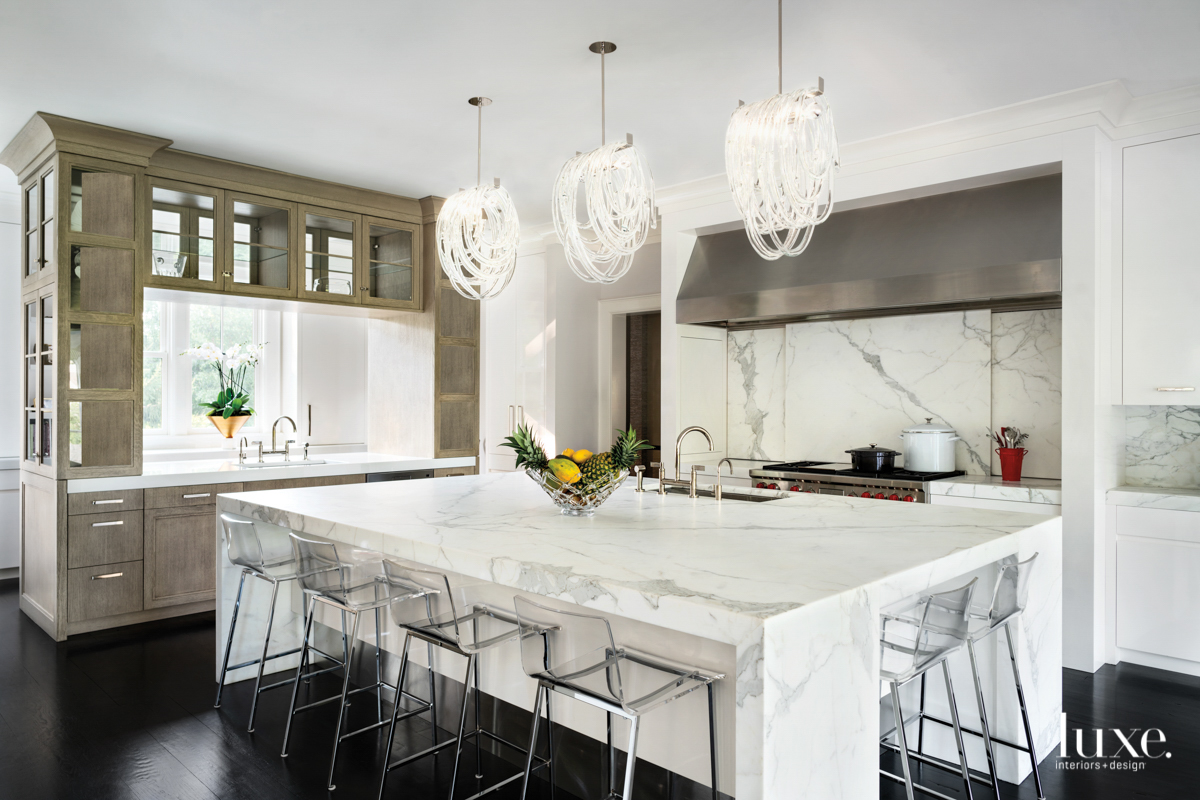 contemporary neutral white kitchen marble...