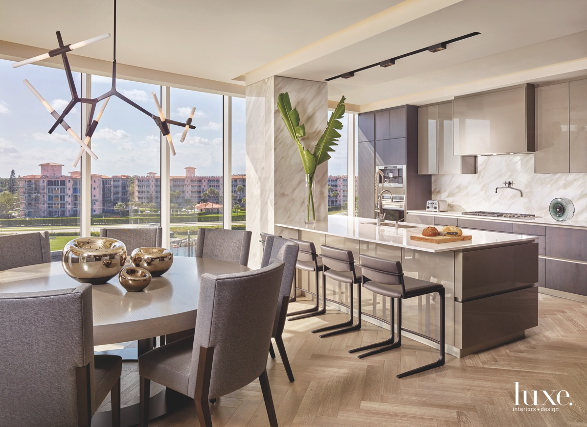 contemporary dining area gray accents...