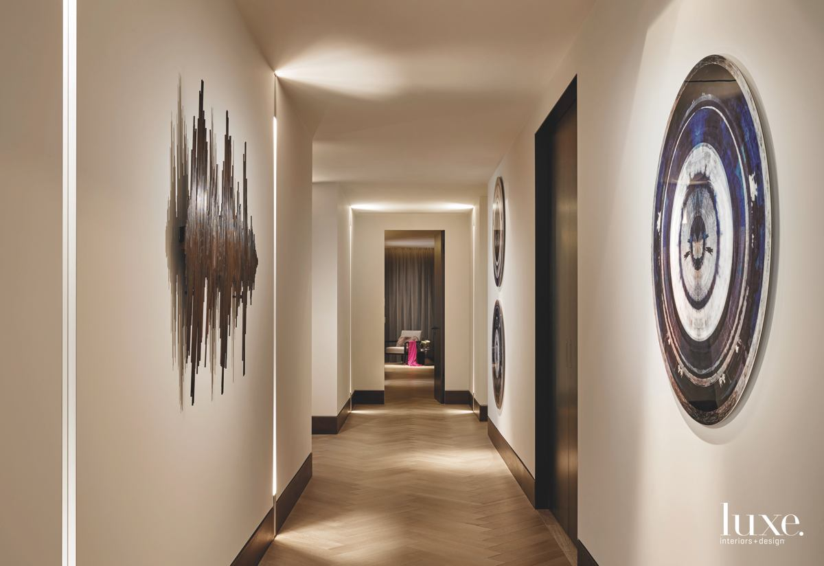 contemporary hallway art gallery wood...