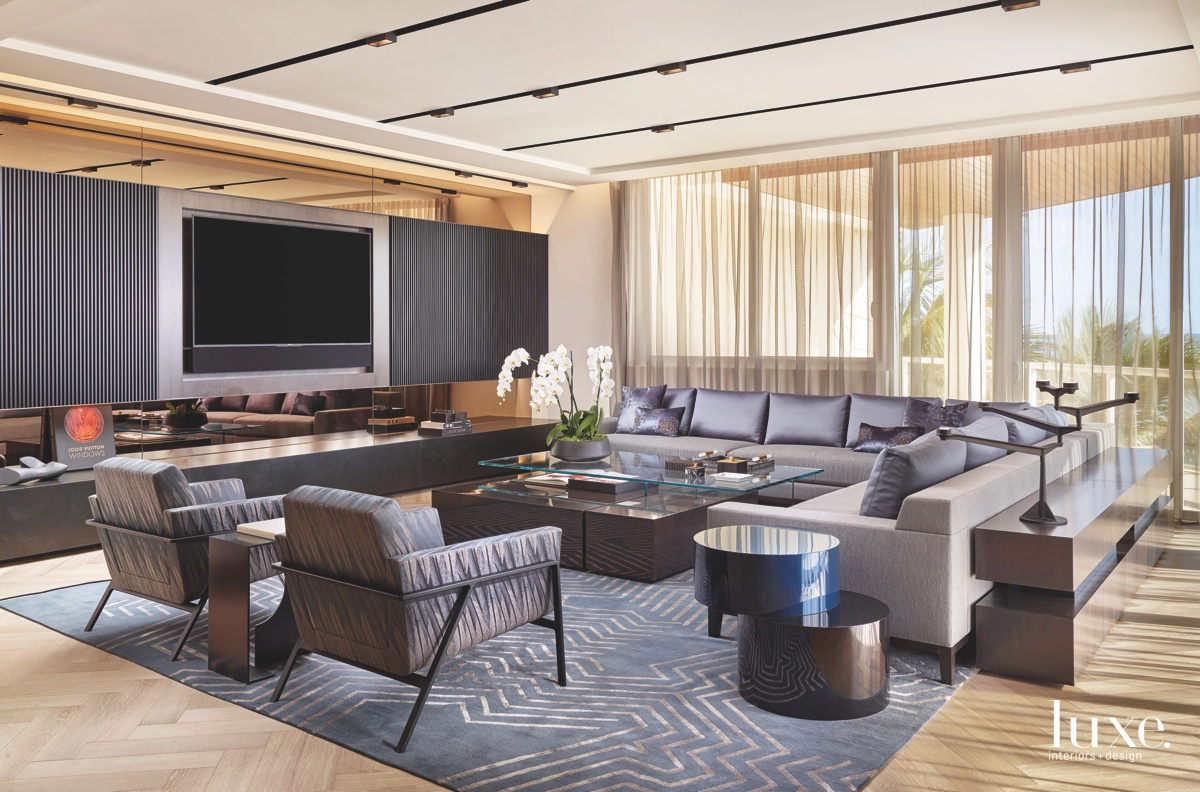 contemporary living room gray sectional