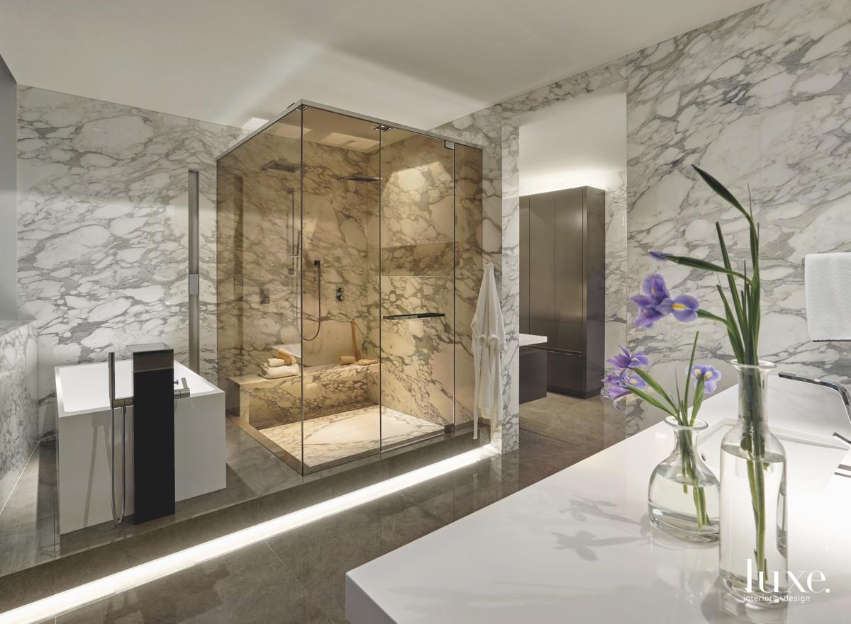 contemporary bathroom marble walls stone...