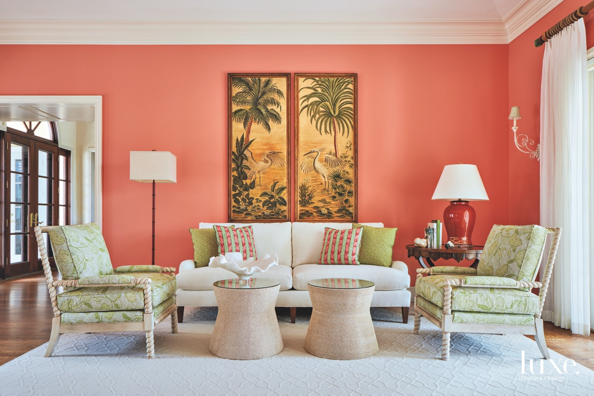 traditional living room melon color...