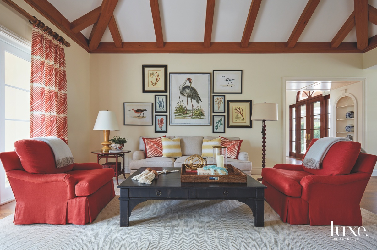 traditional family room red accents...