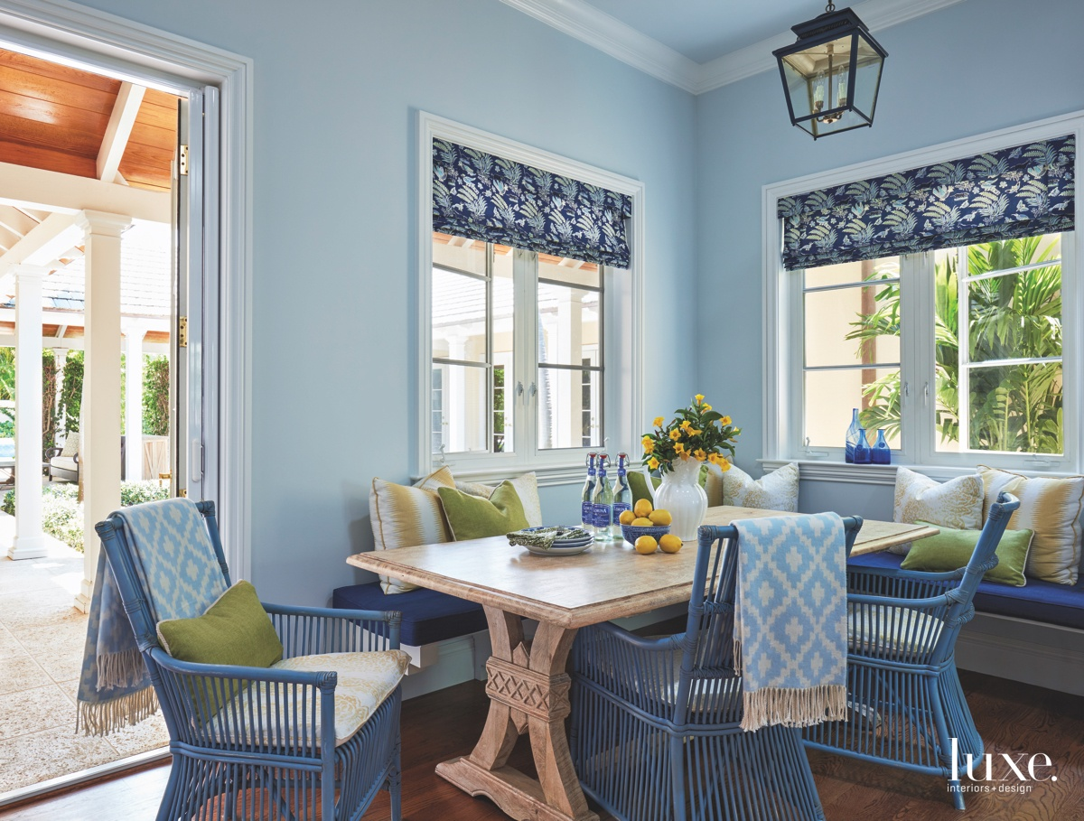 traditional blue dining area