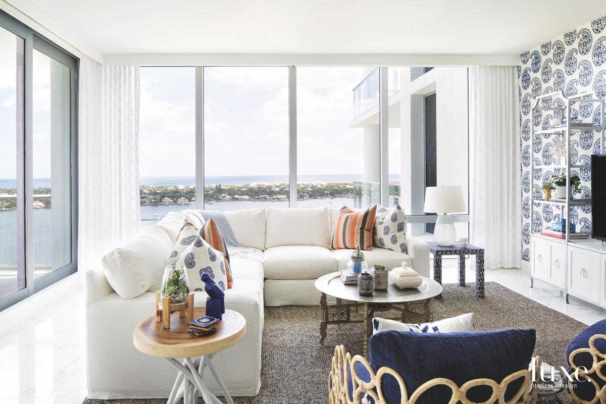 coastal living room white sectional...
