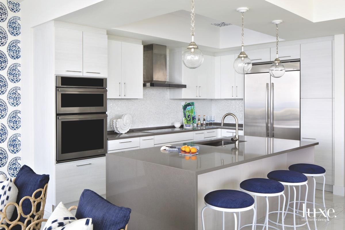 coastal white kitchen indigo accents