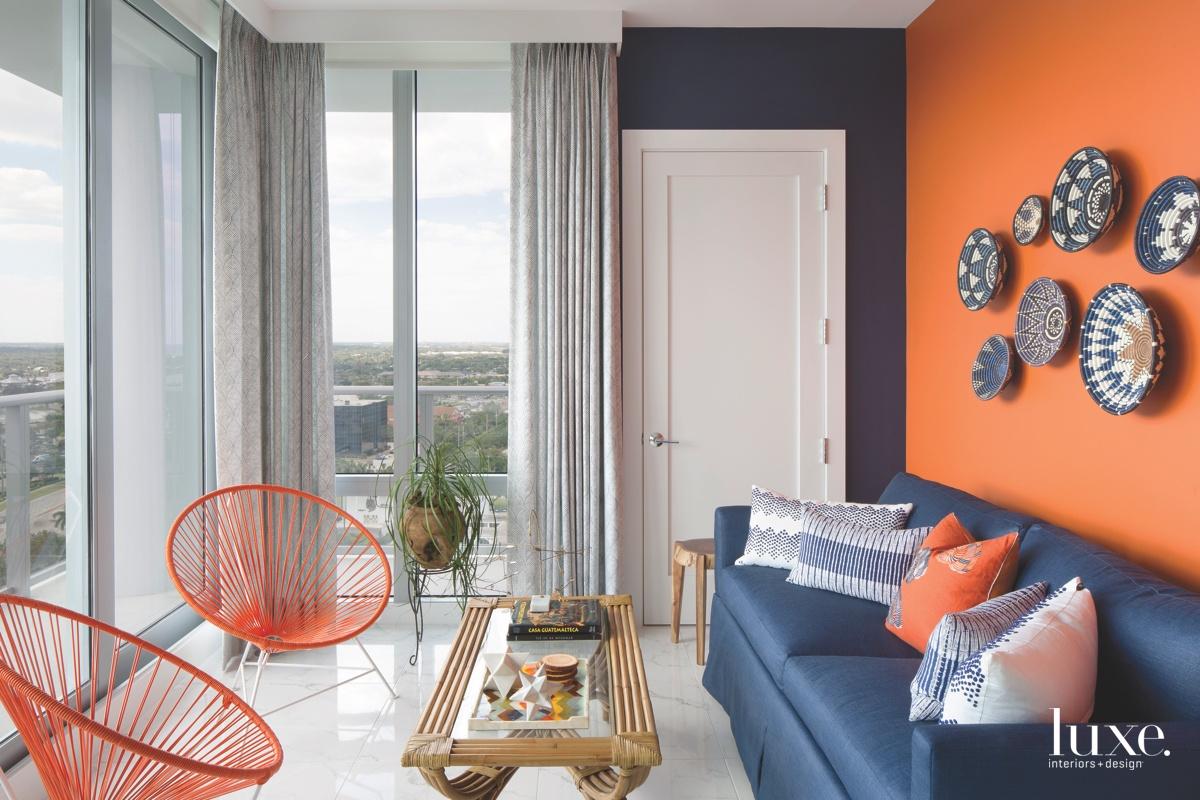 coastal sitting room orange wall...